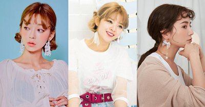 韓國明星垂墜流線耳環耳夾珍珠細緻蕾絲流蘇