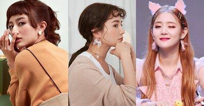 韓國珍珠明星耳環耳夾搭配垂墜貼耳圈圈復古蕾絲