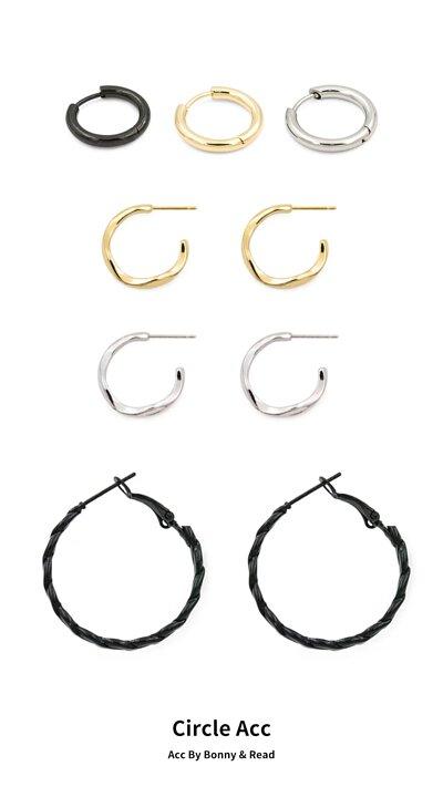 圈圈耳環 /圈圈耳夾 - [韓國] 簡約世代耳環 / 麻花圈圈耳環5.0