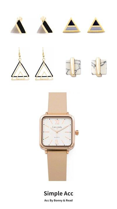 [韓國] 三角哲學夾式耳環  / [韓國] 雙色三角耳環 /  三角漣漪耳環 / 白晝滯留耳環 / [韓國] STACCATO 極致的優雅方框手錶