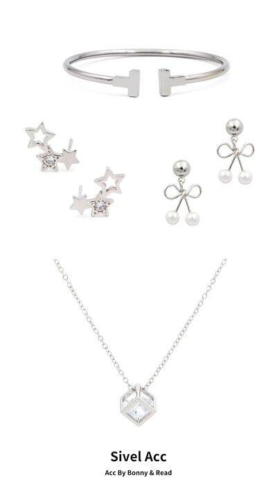 閃閃星光耳環 - 銀針 / 珍愛蝴蝶結耳環 / 冰晶鋯石方塊項鍊