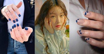 經典藍搭配在指彩上,不論單色或跳色都讓皮膚顯得白皙