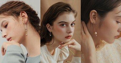 優美典雅 – 珍珠、水晶垂墜耳環