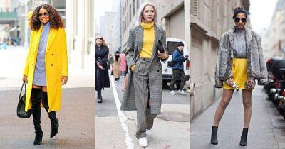 極致灰和亮麗黃的搭配,讓活力與知性的氛圍相容,是今年絕不能或缺的穿搭色彩。