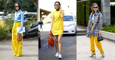 全身亮黃色穿搭,或用淺藍色單品做跳色搭配,創造出搶眼風格。
