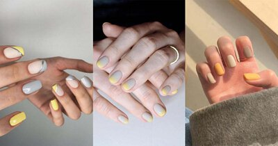 指彩造型運用灰與黃做搭配,或以亮黃色點綴,讓指尖也能時髦獨特。