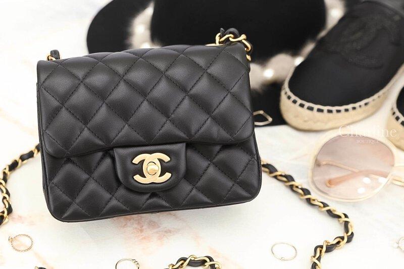 a36e9c12a7f2 Chanel Mini Coco Square黑色金鍊小羊皮肩背包-Charline Boutique精品代購