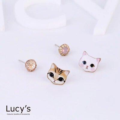 可愛奶貓 耳環 (二色)