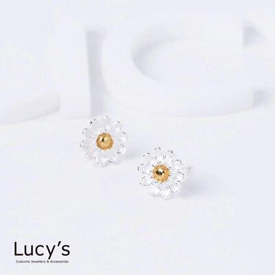 925純銀 金菊 耳環