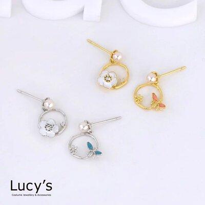 925純銀 蜜蜂與花 耳環 (二色)