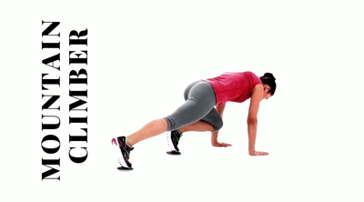 Mountain climber using gliding disc. The perfect core and abs workout