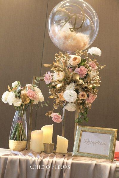 收禮桌 寒舍艾美 氣球 花藝 婚禮 婚佈