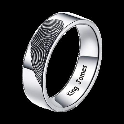 指紋戒指,內圈做黑刻字