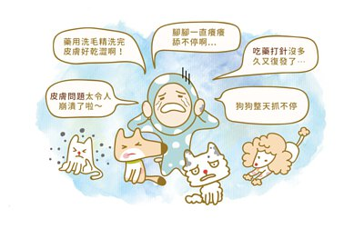寵物皮膚問題令人崩潰、藥用洗毛精洗完又好乾澀、狗狗貓咪一直腳癢舔不停、看獸醫吃藥打針沒多久又復發、毛孩整天抓不停...這些都是寵物易有的肌膚問題。