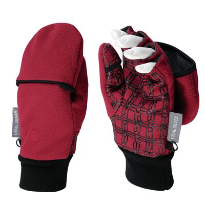 聖誕交換禮物紗比優遠紅外線防風保暖兩用止滑半指手套酒紅色
