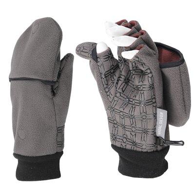 聖誕交換禮物紗比優遠紅外線防風保暖兩用止滑半指手套灰色