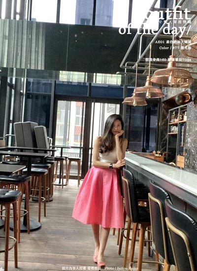 螢光粉色 光澤緞面 法式優雅大圓裙 共98色(AE01)gift me love 愛禮訂製時裝店