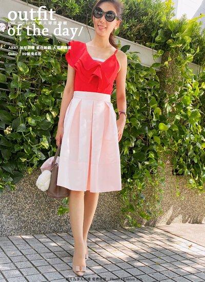 加厚裙襬 素色錦緞 大寬褶 大圓裙(霧面光澤)113色(AE87)
