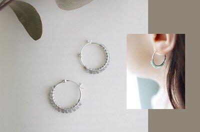 天河石圓圈純銀耳環