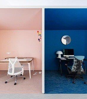 藍色與粉紅色bolon pvc編織地板劃分簡約的家居空間展廳