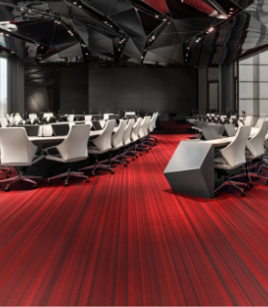 台北的中國文化大學推廣教育部建國本部 (大夏館)鋪設Jean Nouvel設計款紅色線條的瑞典Bolon編織地板