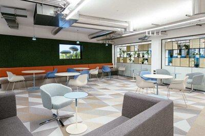 英國的辦公室設計空間鋪設bolon淺灰色、金色、白色三角形PVC編織設計地板