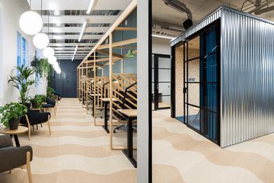 芬蘭的辦公室設計空間鋪設Wave波浪型的bolon米色PVC編織設計地板