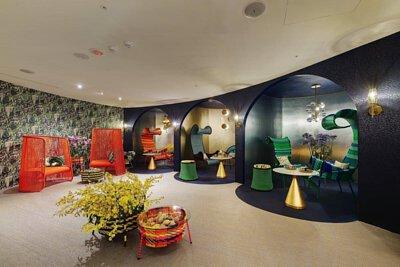 台灣的spa空間-  閨蜜花園 &fellows SPA  鋪設bolon米色和裁切出圓形深藍色紋路的PVC編織設計地板