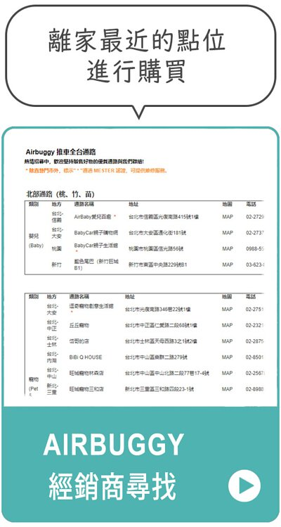 引導至台灣區AirBuggy經銷門市進行洽詢