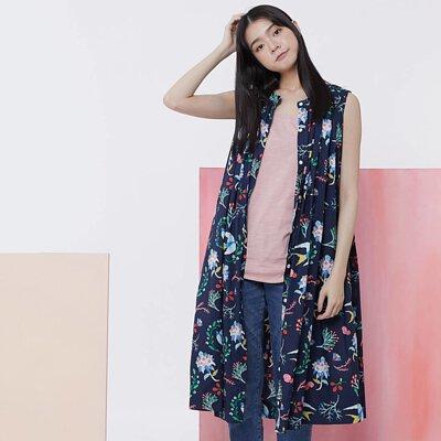 Birdie 無袖長版襯衫洋裝/藍花鳥