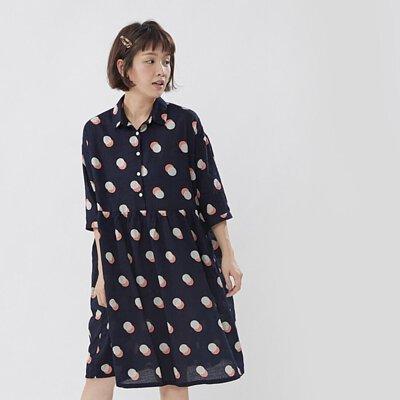 Demila半開襟五分袖中長口袋洋裝/深藍