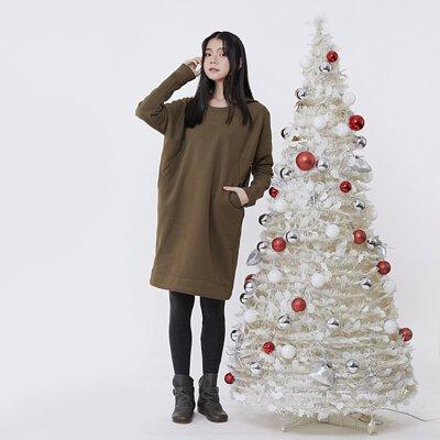 Bonnie 暖窩刷毛口袋剪接洋裝/欖綠