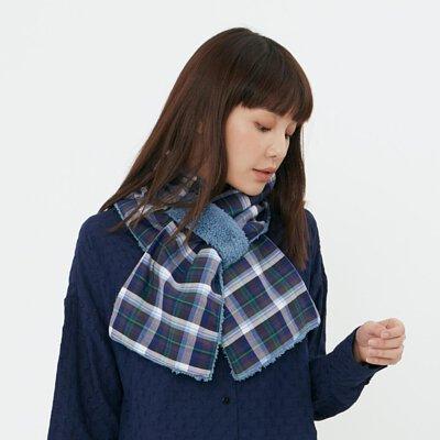 雙色雙面抓絨毛圍巾/藍格【寒流保暖對策】