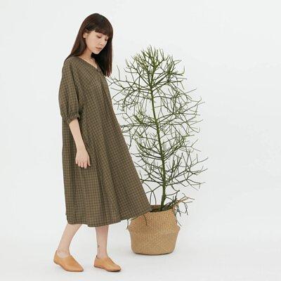 Fifi 春夏格紋度假長洋裝/綠