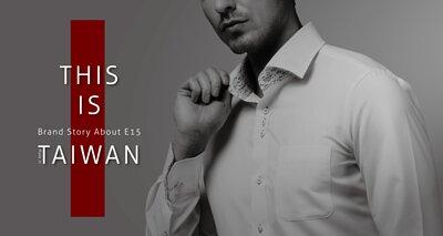 一位穿著衣十五商務襯衫的男人拉著自己的領子