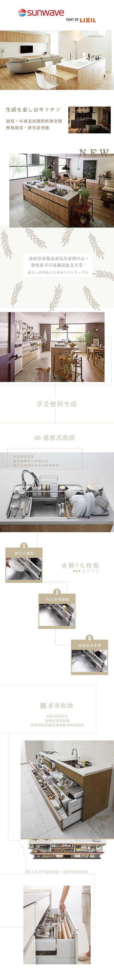 LIXIL,SUNWAVE廚具,生活廚具,中島型廚房,半島型廚房