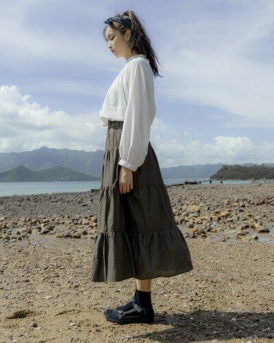 日系麻棉百摺裙