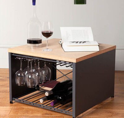 Wine and glass racks, win bags, cellar clocks & lamps