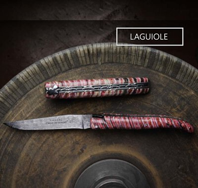 Master art pieces of folding knives Laguiole by  Dozorme & Forge de Laguiole: damascus blade, chiseled spring...