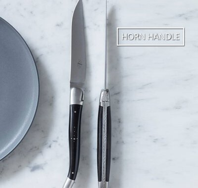 The genuine Laguiole knives Made in France, in Laguiole and Thiers [Forge de Laguiole, Claude Dozorme]. Horn handle series