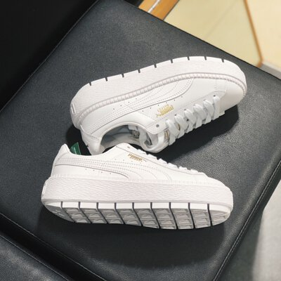 detailed look 9bb53 72138 PUMA SUEDE PLATFORM TRACE (WHITE/GOLD)