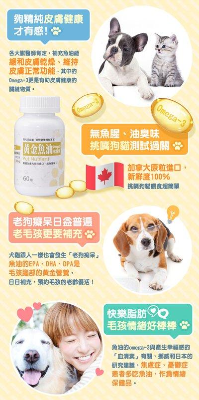 加拿大原粒進口寵物魚油,Omega3讓狗狗皮膚維持健康、無油臭魚腥味,DHA、EPA更是老狗腦部重要營養素