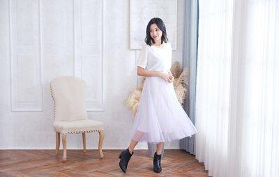 雲朵紗裙,淺芋灰