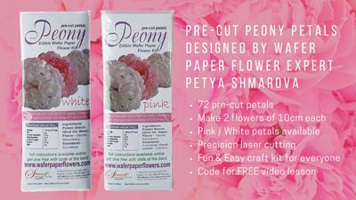 wafer precut petal, peony petal, wafer paper flower
