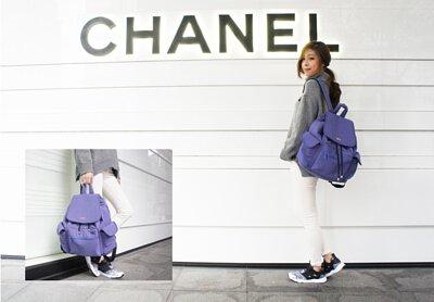 雪花紫大束口背包