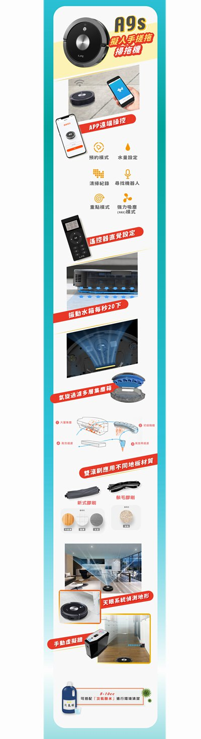 ILIFE A9s 掃拖兩用機器人,支援APP、虛擬牆,全新擬人手搓拖地、電控出水系統,加上專利離心氣旋集塵系統,不僅止於厲害。