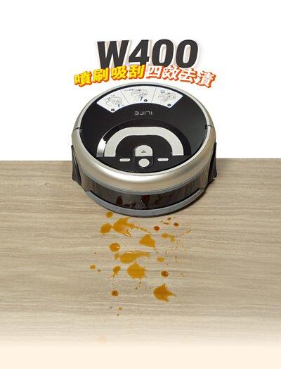 ILIFE W400 洗地機器人,噴刷吸刮,四效洗淨地版髒污,淨、污水分離水箱,客戶回饋。