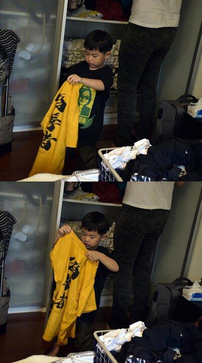 當天阿川幫忙整理爸爸的衣服