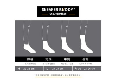 襪子全系列尺寸筒長規格表