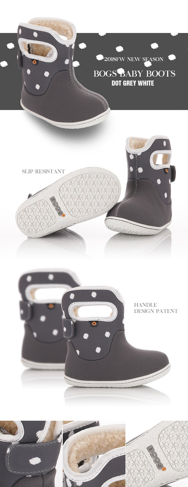 BOGS Baby Winter Boots ~ Dot Gray